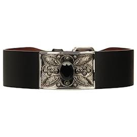 Alexander Mcqueen-Skull and Crytal Leather Cuff-Black