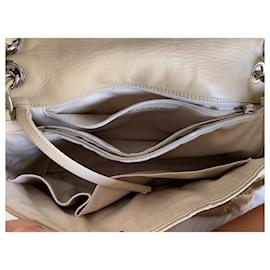 Chanel-Large classic chanel flap bag beige with silver hw-Beige