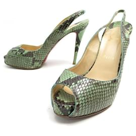 Christian Louboutin-CHRISTIAN LOUBOUTIN SANDALS PRIVATE NUMBER 40.5 PYTHON LEATHER-Green