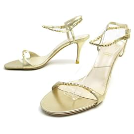 Christian Dior-CHRISTIAN DIOR SANDALS WITH HEELS 40 IN GOLD LEATHER & STRASS SHOES-Golden
