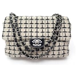 Chanel-CLASSIC CHANEL TIMELESS MEDIUM HANDBAG IN BLACK & WHITE TWEED HAND BAG-White