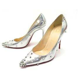 Christian Louboutin-CHRISTIAN LOUBOUTIN PIGALLE SPIKE SHOES 38 PUMP SILVER LEATHER PUMPS-Silvery