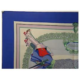 Hermès-VINTAGE HERMES LE PAVE DU ROY SCARF BY HUGO GRYGKAR BLUE SILK SILK SCARF-Blue