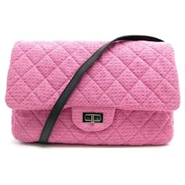 Chanel-NEW CHANEL BESACE CLASSIC HANDBAG 2.55 GM IN PINK TWEED A47692 HAND BAG-Pink