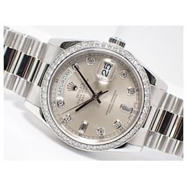 Rolex-ROLEX DAY DATE Platinum bezel diamond 8P Diamond 2P Baguette diamond 118346A Mens-Silvery
