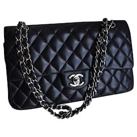 Chanel-Classic Medium Black Dbl Flap Bag-Black,Silver hardware