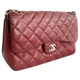 Chanel-Chanel Burgundy Classic Jumbo Flap bag SHW-Dark red