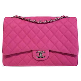 Chanel-Chanel Pink Suede Timeless Classic Maxi flap bag-Pink