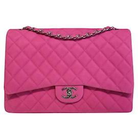 Chanel-Sac à rabat Chanel en daim rose Timeless Classic Maxi-Rose