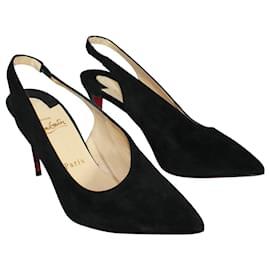 Christian Louboutin-Rivafish Black Suede Heels-Black