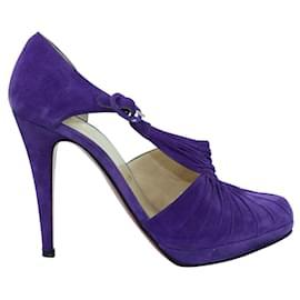 Christian Louboutin-Sandales en daim violettes-Violet
