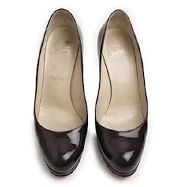 Christian Louboutin-[Used] Christian Louboutin Patent Leather Round Toe Pumps 36 1/2 dark purple-Red,Dark purple