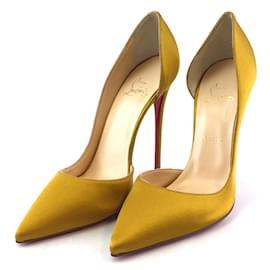 Christian Louboutin-Christian Louboutin Yellow Satin Iriza 120 Pumps-Yellow