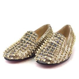 Christian Louboutin-Christian Louboutin Gold Glitter Spikes Dandelion Flats-Golden