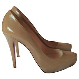 Christian Louboutin-louboutin shoes 38-Sand,Cream