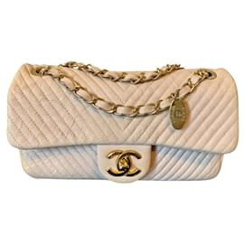 Chanel-CHANEL calf leather Chevron Surpique Classic Flap-Peach