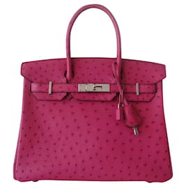 Hermès-Bolsa HERMES BIRKIN 30 Avestruz-Rosa
