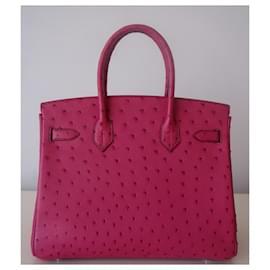 Hermès-Sac Hermes Birkin 30 autruche-Rose