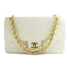 Chanel-VINTAGE HANDBAG CHANEL CLASSIC TIMELESS WHITE QUILTED LEATHER HAND BAG-White