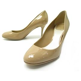 Christian Dior-NEW CHRISTIAN DIOR PUMPS 40 BEIGE PATENT LEATHER NEW SHOES-Beige