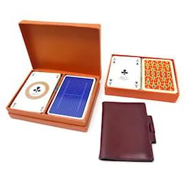 Hermès-LOT HERMES COVER AGENDA PM RED LEATHER + 4 DIARY COVER CARDS GAMES-Dark red