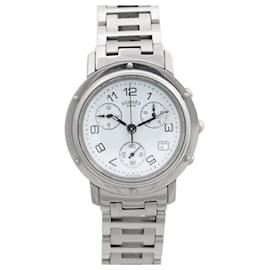 Hermès-HERMES CLIPPER CL WATCH1.910 38 MM CHRONOGRAPH QUARTZ STEEL WATCH-Silvery