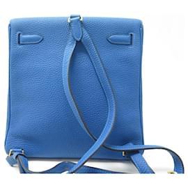 Hermès-HERMES KELLY ADO II BACKPACK IN BLUE TOGO LEATHER 2019 BACKPACK BAG LEATHER BOX-Blue