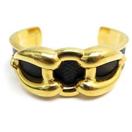 Hermès-HERMES BIT BRACELET 17 CM GOLD METAL & LEATHER LEATHER JEWEL-Golden