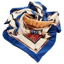 Louis Vuitton-Louis Vuitton Blue LV Cup Regates Eliminatories De La Coup De L America Silk Scarf-Blue,Multiple colors,Navy blue