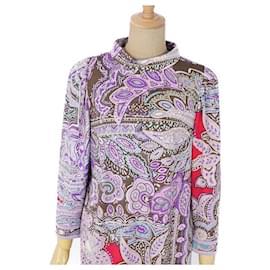 Leonard-[Used] LEONARD FASHION Total pattern paisley wool jersey dress-Purple