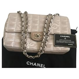 Chanel-Timeless Chanel canvas / leather-Silvery,Beige,Metallic,Cream