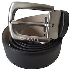 Chanel-Chanel Men's Belt / calf leather / Size 95 / NEVER SERVED-Black