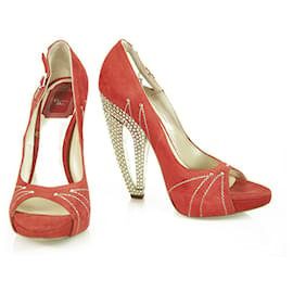 Christian Dior-Christian Dior Red Suede Leather Peep Toe Pumps Rhinestone Heel Shoes sz 37.5-Red