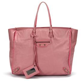 Balenciaga-Balenciaga calf leather Papier Tote-Pink