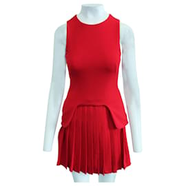 Alexander Mcqueen-Red Pleated Dress-Red