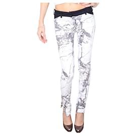 Balenciaga-Stones Print white jeans-White