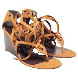 Balenciaga-Camel Strappy Wedge Sandals-Brown