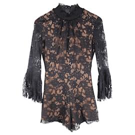 Alexis-Long Sleeve Lace Jumpsuit-Black