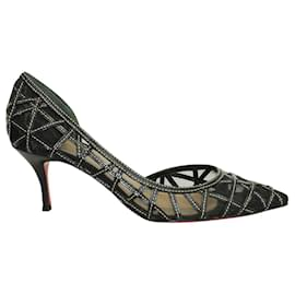 Christian Louboutin-Lace Pointed Toe Heels-Black