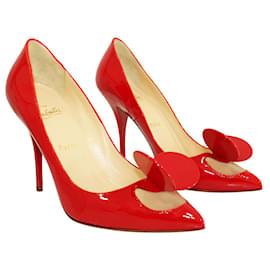 Christian Louboutin-Escarpins Madame Mouse en cuir verni rouge-Rouge