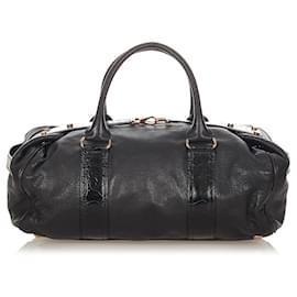 Balenciaga-Balenciaga Black Whistle Lambskin Leather Boston Bag-Black