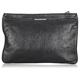 Balenciaga-Balenciaga Black Leather Clutch Bag-Black