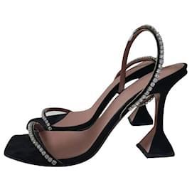 Amina Muaddi-Amina Muaddi Jade crystal-embellished suede sandals Sz.38-Black