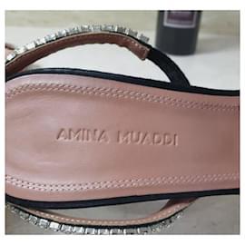 Amina Muaddi-Amina Muaddi Jade Sandalen aus Wildleder mit Kristallverzierung Gr.38-Schwarz