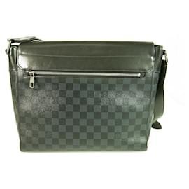 Louis Vuitton-LOUIS VUITTON Damier Graphite Gray Black Messenger Bag Crossbody Business Bag-Black,Dark grey