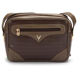 Valentino-Valentino Monogram Coated Canvas Crossbody Bag-Brown