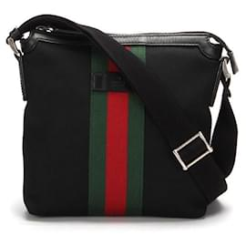 Gucci-Gucci Nylon Web Messenger Bag Sherry Line-Black