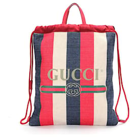 Gucci-Gucci Canvas Logo Drawstring Backpack-Multiple colors