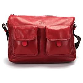 Loewe-Loewe Leather Messenger Bag-Red