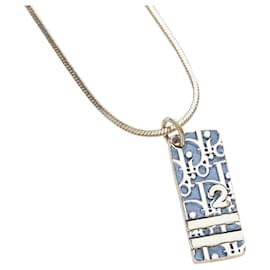 Dior-Collier Pendentif Dior Bleu Dior Oblique Trotteur-Argenté,Bleu